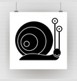 silhouette of a snail on a brick wall vector image vector image