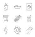 unhealthy food icon set outline style vector image vector image