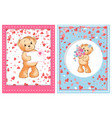 valentine furry bear with flower and letter vector image vector image