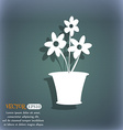 vase of flowers icon On the blue-green abstract vector image