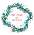 white card with blue christmas wreath and berries vector image