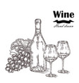 wine bottle with two glasses and grapes vector image vector image