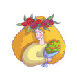 woman with tulip wreath on head holding bouquet of vector image vector image