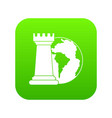 world planet and chess rook icon digital green vector image vector image