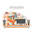 worldwide shipping poster with delivery terminal vector image