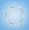 wreath of snowdrops and mimosa on blue background vector image