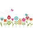 Floral hearts design vector image