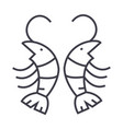 shrimp line icon sign on vector image