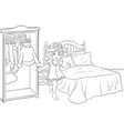 a children coloring bookpage a cute little girl vector image