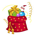 a red pouch of santa claus filled with christmas vector image vector image