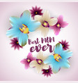 best mom ever lettering orchid backdrop vector image vector image