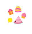 birthday cake cupcake giftwatermelon dessert vector image vector image