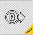 black line cryptocurrency coin bitcoin icon vector image vector image