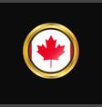 canada flag golden button vector image