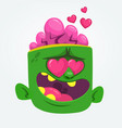 cartoon green zombie in love vector image vector image