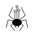 cartoon spider silhouette with eyes vector image vector image