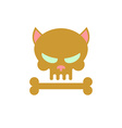Cat skull with bones Head skeleton of a kitty Logo vector image vector image
