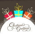 christmas card with gift vector image vector image