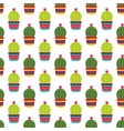 colorful cacti flowers pattern vector image vector image