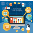 Computer Monitor with Online Shopping E-Commerce vector image vector image