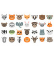 cute cartoon animals heads set vector image