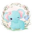 cute watercolor baby elephant