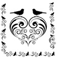 decorative heart with birds vector image vector image