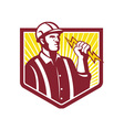 Electrician Holding Lightning Bolt Retro vector image vector image