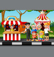 family members recreation in the amusement park vector image vector image