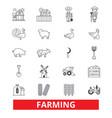 farming garden plant tractor harvest village vector image