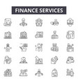 finance services line icons for web and mobile vector image vector image