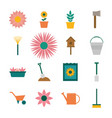 garden flat style set icons design vector image vector image