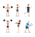 group of athletes practicing exercices vector image