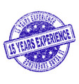 grunge textured 15 years experience stamp seal vector image