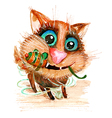 Hand drawn watercolor funny cat with toy mouse vector image vector image