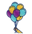 hand holds bunch of brightly helium balloons vector image vector image