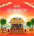hello summer bright tropical poster vector image