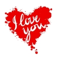 I love you heart red background painted with vector image vector image