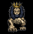 lion aggry king crown annimal gold background vector image vector image