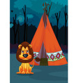 Lion at camp vector image vector image