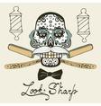 Look sharp Skull with mustache vector image vector image