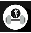 man hand up silhouette with barbell icon design vector image vector image