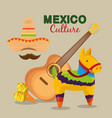 mexican guitar with hat and maracas to event vector image vector image