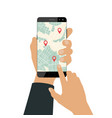 mobile navigation on smartphone vector image