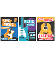 music festival posters live acoustic guitar music vector image