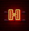 neon city font letter h signboard vector image