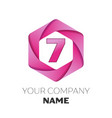 number seven logo in the colorful hexagonal vector image vector image