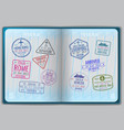 open passport for foreign traveling vector image
