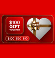 red gift woucher with gold ribbon discount vector image