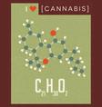 retro poster cannabis plant molecule vector image vector image